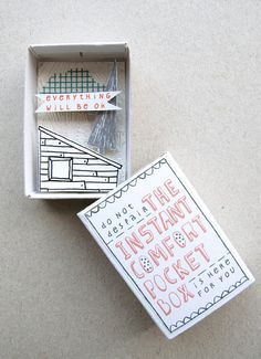 amazing etsy product and store! via design crush NOTE:  CHEER UP BOX. INSPIRED BY THE OUTSIDE SAYING.  COULD ALSO FILL BOX W/INSPIRATIONAL SAYINGS ON SMALL FOLDED PAPERS.