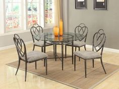 Lexie 5Pc Dining Set by Chintaly w/Clear Glass Top