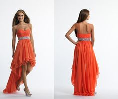Wholesale Long Prom Dresses - Buy Elegant Orange Long Prom Dresses With Spaghetti Strap High Low Backless Beaded Pleated Style And Chiffon Material For Wedding Party, $82.73 | DHgate