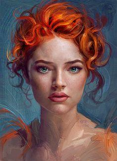 Thiago Moura Januário {figurative realism art beautiful female redhead woman face portrait digital grunge painting #loveart} userthiago.deviantart.com
