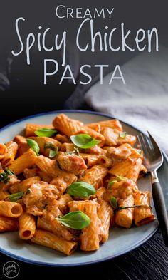 Creamy Pasta Recipes, Spicy Recipes, Cooking Recipes, Healthy Recipes, Creamy Pasta Dishes, Simple Pasta Recipes, Chef Recipes, Spicy Chicken Pasta, Vegetarian Food