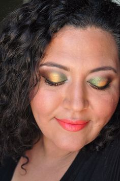 Golden green eyes with MAC Embark, BFTE Tangerine, and  L'Oreal Infallible Golden Emerald eyeshadow.