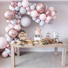 I am loving the color combintion for this baby shower dessert table.  #babygirl #babyshower #balloonarch #balloongarland #desserttable #dessert #pastels