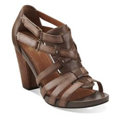 Rosa Hyde in Dark Taupe Leather - Women's Sandals from Clarks - Women's Wedges