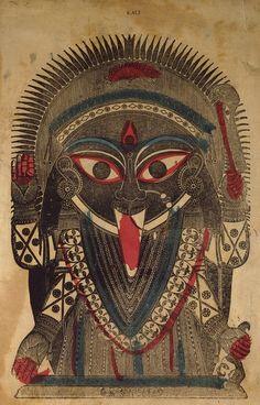 Kali, Hand colored Wood Block Print (19th century), Calcuta. কোলকাতা