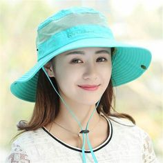 Sun bucket hat with string for women UV protection fishing hats hiking wear