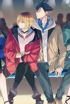 Kuroo Tetsurou x Kenma Kozume (KuroKen) - Haikyuu! Manga Anime, Manga Haikyuu, Haikyuu Fanart, Fanarts Anime, Anime Characters, Kuroo X Kenma, Haikyuu Nekoma, Kagehina, Hinata