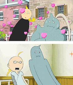 Edward and Alphonse haha lol in the top one Edward is getting hit by the flying hearts