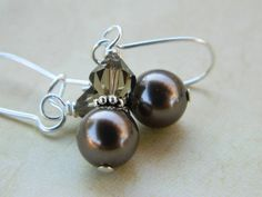 Laura - Brown Earrings - Swarovski Pearls, Wire Wrapped, Brown, Cocoa, Mocca, Bronze, Night, Dark, Bride, Silver, Bridesmaid, Medium, Wedding on Etsy, $13.00