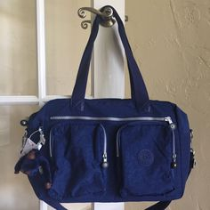 Kipling Sasha Sherpa Carry On Tote Duffel Travel Bag Ink Blue SL3010 #Sasha #TotesShoppers