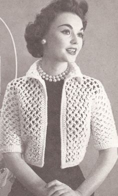 Free+Crochet+Jacket+Patterns+For+Women | Crocheted Jacket and Mittens | Free…