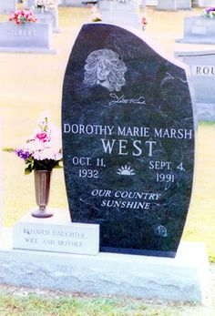 "Dottie West (1932 - 1991) - Country Singer. In 1973, her signature song ""Country Sunshine"" became a hit Coca-Cola jingle and, in 1974, Mount View Cemetery 209 Mountain Street McMinnville Warren County Tennessee  USA"