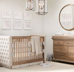 classic chesterfield crib. coordinating furnishings and soft textiles. the perfect neutral nursery. #rhbabyandchild