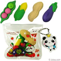 ASSORTED FUNNY ERASERS IN POUCHES. These adorable Japanese Iwako-style erasers come in multiple styles and colors. Each zippered pouch contains 3 - 5 pieces. Perfect for party favors, stocking stuffers or Easter basket treats. Size 0.5 to 1.25 Inches, packaging 3 X 3 Inches