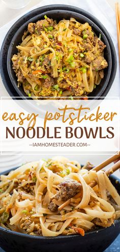 Potsticker Noodle Bowls are loaded with rice noodles and mixed with ground pork, cabbage, and topped off with a homemade rice vinegar sauce with a kick. Ground Pork Recipes Easy, Pork Recipes For Dinner, Recipes With Pork And Noodles, Chicken Recipes, Pork Dinner Ideas, Recipes With Rice Vinegar, Meals With Rice, Venison Recipes, Sausage Recipes