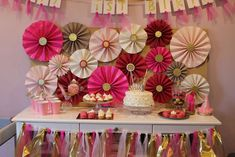 Pink and gold birthday party backdrop!  See more party planning ideas at CatchMyParty.com!