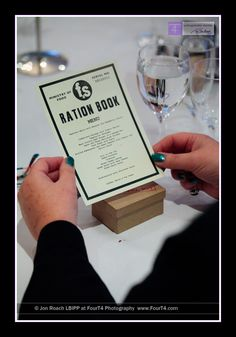 Not that marriage is in my future, but this is adorable: Ration card themed menu for a 1940s style wedding