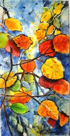 "'SUNNY FALL'    10x14"" Batik, watercolor,wax,ink on rice paper.   TINA FINCHER"