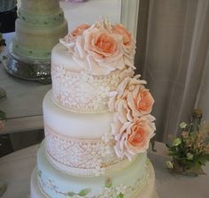 Vintage Rustic Ombre Rose Cake