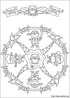 Mandalas bring relaxation and comfort to adults all over the world. Mandalas are one of our favorite things to color. Kids can color them too! We have some more simple mandalas for kids to color. Mandalas for Kids Cartoon Coloring Pages, Mandala Coloring Pages, Printable Coloring Pages, Colouring Pages, Adult Coloring Pages, Coloring Sheets, Coloring Books, Pirate Day, Pirate Theme