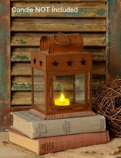 New Primitive Country Rustic RUSTY STAR LANTERN Candle Holder