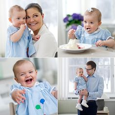 Princess Estelle of #sweden celebrates her first brithday, here with her parents CP Victoria and Daniel