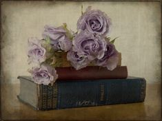 Old Books and Roses - book, flowers, roses, vintage