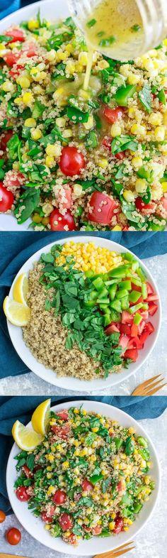 This Garden Veggie Quinoa Salad is quick, easy, and jam-packed with healthy veggies! Gluten-Free + Vegan