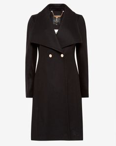 Wool wrap coat - Black | Jackets & Coats | Ted Baker UK