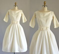 Vintage 50s Dress/ 1950s Party Dress/ Lorrie Deb Cream Wedding Prom