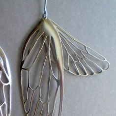 Cicada Wing Earrings in sterling silver by antipodia on Etsy, $160.00