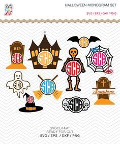 Halloween Monogram Set Svg Hat, Skeleton, Castle witch, Pumpkin, Spider, Skull, Ghost SVG DXF EPS png Cricut Design, Silhouette studio by SvgCutArt on Etsy