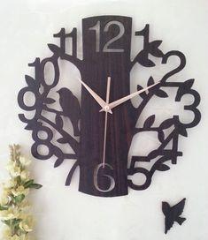 Envío gratis 14 pulgadas de arte reloj de pared reloj de aquietar breve de moda reloj de bolsillo de lana del árbol forma/forma de reloj