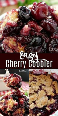 Easy Cherry Cobbler Easy Cherry Cobbler is packed full of juicy, sweet cherries, topped with both a crunchy and cake-like topping, and is a delicious, classic cherry cobbler recipe the whole family will enjoy. Cherry Desserts, Köstliche Desserts, Delicious Desserts, Yummy Food, Fruit Recipes, Baking Recipes, Recipes With Cherries, Nutella Recipes, Sweet Cherry Recipes