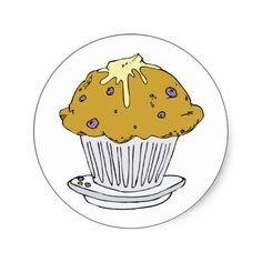 Muffin Junk Snack Food Cartoon Art Round Stickers #Stickers