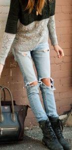 #fall #fashion / knit + ripped jeans