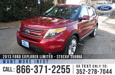 2013 Ford Explorer Limited - V6 3.5L Engine - Alloy Wheels - Spoiler - Tinted Windows - Fog Lights - Roof Racks - Black Leather Interior - Safety Airbags - Powered Windows/Locks/Mirrors/Driver Seat - Bluetooth - Backup Camera - Cruise Control - Seats 7 - 3 Rows - AM/FM/CD/SIRIUS Satellite - Touch Screen - USB Port - SYNC by Microsoft - Remote/Push Button Start - Navigation - Digital Compass - Outside Temperature Display - Heated/Cooled Front Seats - Sunroof - HomeLink and more!