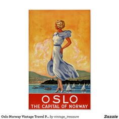 Oslo Norway Vintage Travel Poster Restored