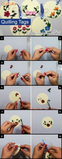 How to make easy and beautiful Paper Quilling Floral Tags Quilling Flowers Tutorial, Quilling Instructions, Paper Quilling Flowers, Neli Quilling, Quilling Paper Craft, Quilling Patterns, Quilling Designs, Paper Crafts, Quilled Roses