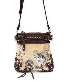 Loving this Brown Floral Crossbody Bag on #zulily! #zulilyfinds