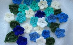 mini crochet blue mix and white flowers whith leaves decoration flowers scrapbooking appliques crochet supplies hande made set of 16pcs