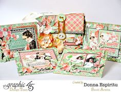 Learn how to make this fabulous set of cards to give as a fabulous handmade gift! This set is by the amazing Donna Espiritu. #graphic45 #cards #g45handmadegifttutorials