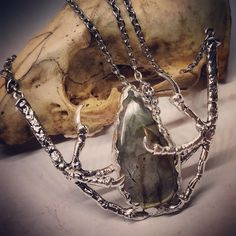 $68 - Witchy Soldered Raven Talons with Labradorite