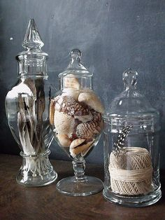 Fill apothecary jars with feathers, shells, rope, rocks, etc for a year round lo… - Haus Dekoration Glass Containers, Glass Jars, Mason Jars, Glass Domes, Apothecary Jars Decor, Jar Fillers, Decorating Bookshelves, Beach House Decor, Home Decor