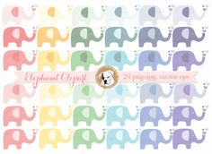 Elephant clipart vector baby shower clipart digital elephants polka dot striped colorful baby girl baby boy commercial use nursery art eps by BouncyBulldog on Etsy https://www.etsy.com/listing/285512905/elephant-clipart-vector-baby-shower
