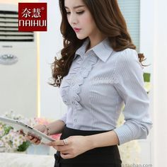 Women Blouse 2016 New Casual Women's Long Sleeved Cotton Shirt Slim Woman Office formal stripe Shirts Excellent Quality Tops Suit Stores, Stylish Work Outfits, Sexy Blouse, Business Dresses, Beautiful Blouses, Moda Fashion, Blouse Designs, Blouses For Women, Stripe Shirts