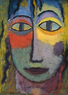 "Alexei von Jawlensky (Russian-German, 1864 - 1941). Head of a Woman ""Medusa"" Light and Shadow, N/D. Musée des Beaux-Arts, Lyon, France"