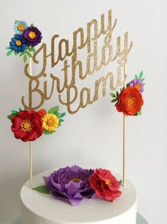 Custom wedding or birthday paper cake topper by papertreats, $32.00