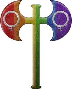 The Labryas is an ancient symbol associated with Greeks and Romans. It was often used in association with female deities and has since been adopted as a symbol of lesbian Pride. Gay Symbols, Ancient Symbols, Lesbian Pride, Lesbian Wedding, Coming Out Party, Pride Tattoo, Rainbow Pride, Lgbt Tattoos, Rainbow Colors