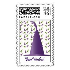 Halloween Witches Hat Postage Stamp
